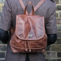 Barcelona Small Rucksack Tan  Leather