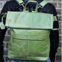 Convertible Rucksack Apple Green Leather