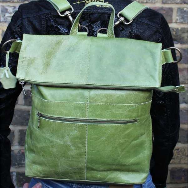 Belgian Convertible Backpack Apple Green Leather