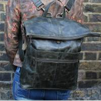 Belgian Convertible Backpack Olive Leather