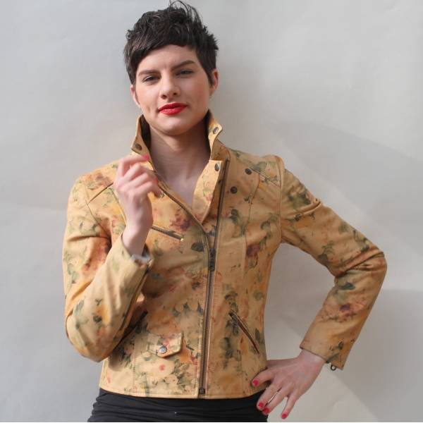 Biker Jacket Tan Floral Leather
