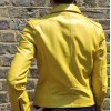 Biker Jacket Yellow Leather