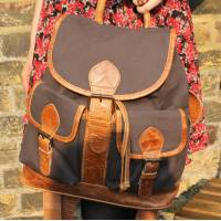 Canvas and Leather Brown Rucksack