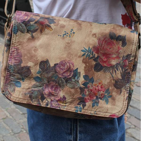 Denise Crossbody Organiser bag in Floral Leather
