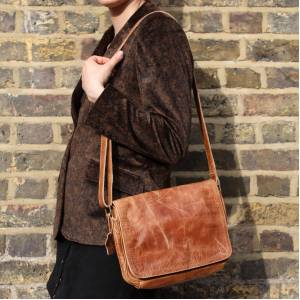 Denise Distressed Tan Leather Bag