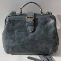Doctor Bag Small Navy Blue Leather