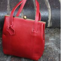 Dolly Clipframe Red Leather Shoulder Bag
