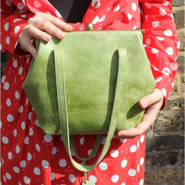 Dolly Apple Green Leather Frame Shoulder Bag