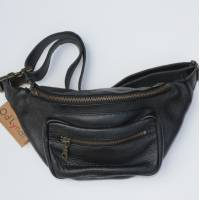 Double Bumbag Black Leather