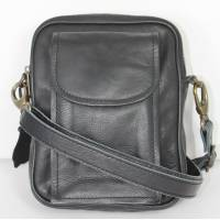 Double Man Bag Black Leather
