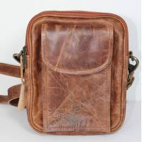 Double Man Bag Tan Scrunchy Leather