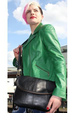Dublin-Medium-Zipped-Foldover-Black-Leather-Bag