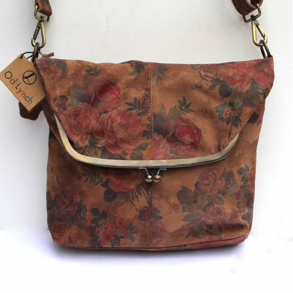 Dublin Large Clip Bag Dark Floral Leather