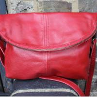 Medium Flapover Zip Bag Red Leather