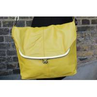 Large Clip Bag Yellow Leather