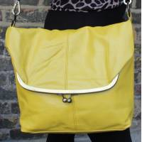 Dublin Large Clip Frame Bag Yellow Leather