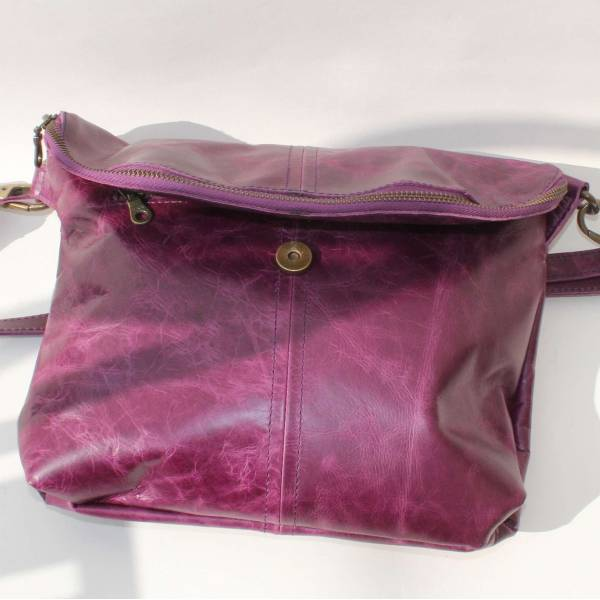 Medium Flapover Zip Bag Purple Leather