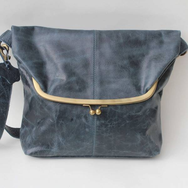Dublin Large Foldover Framed Clip Bag Navy Blue Leather