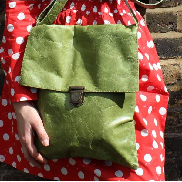 Envelope Apple Green Large Leather Bag