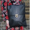 Envelope Black Large Leather Messenger Laptop Bag