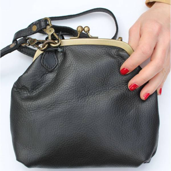 Clip And Clutch Bag Black Leather Medium
