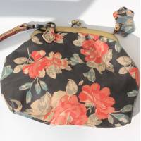 Evanna Clutch Bag Black and red Floral Leather