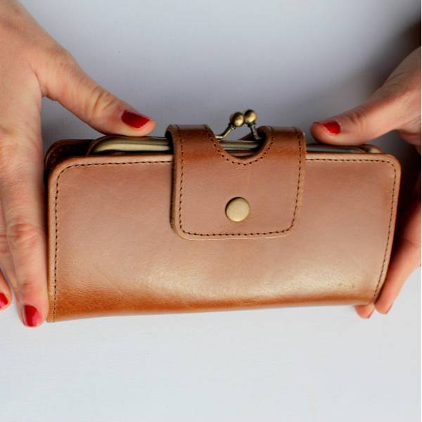 Large Clip Wallet Tan Smooth Leather