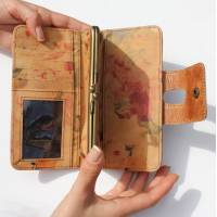Large Clip Wallet Distressed  Dark Tan And Floral Leather
