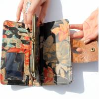 Evanna Large Clip Wallet Distressed Tan And Spanish Floral Leather