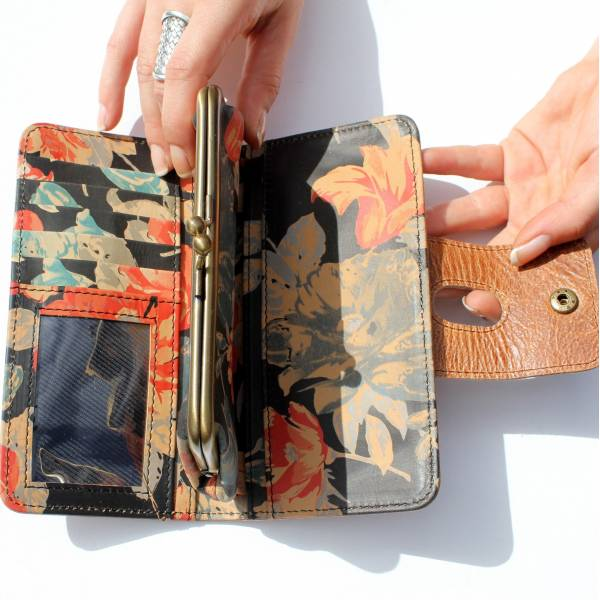 Large Clip Wallet Distressed Tan And Spanish Floral Leather