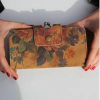 Evanna Large Clip Wallet Floral 14 Leather
