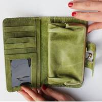 Large Wallet Apple Green Leather