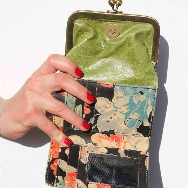 Clip Wallet Apple Green And Spanish Floral Leather