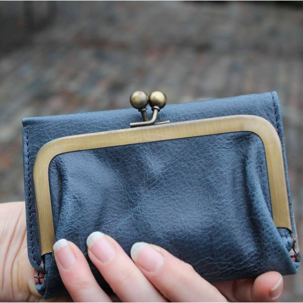 Evanna Clip Wallet Navy Blue Leather