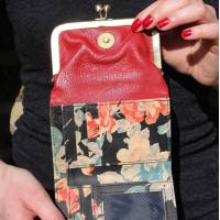 Clip Wallet Red Spanish Floral Leather