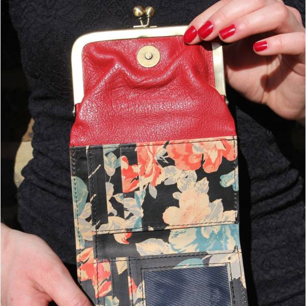 Evanna Clip Wallet Red Spanish Floral Leather