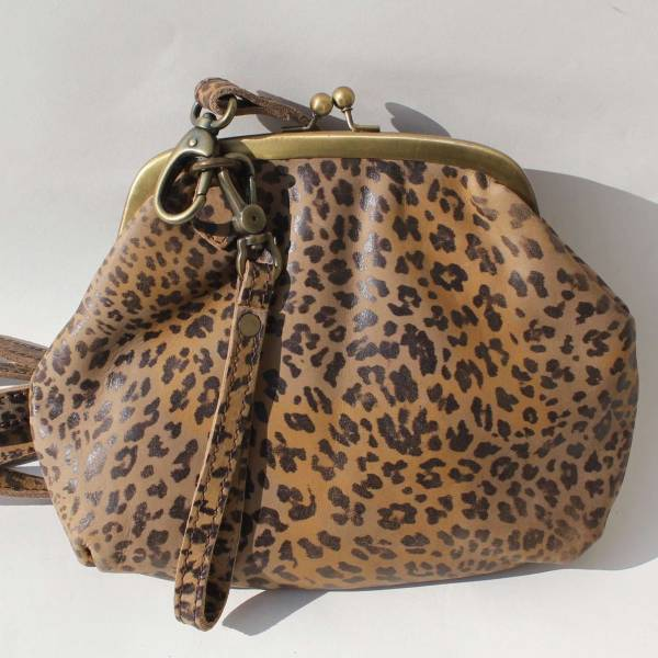 Evanna Clip And Clutch Bag Leopardprint Leather Large