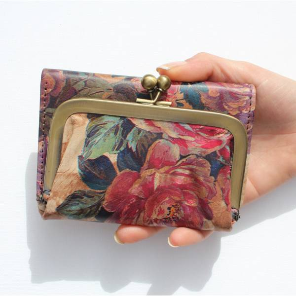 Clip Wallet Floral 14 Print Leather