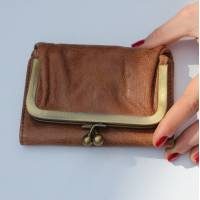Evanna Clip Wallet Scrunchy Tan Leather