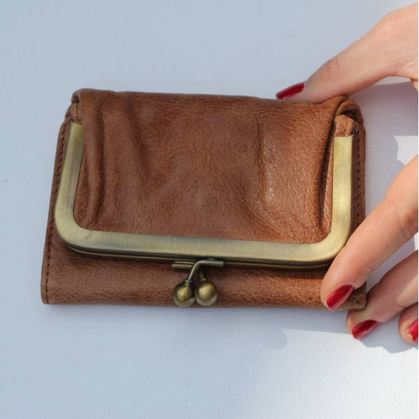 Clip Wallet Scrunchy Tan Leather
