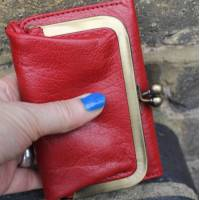 Evanna Clip Wallet Red Leather