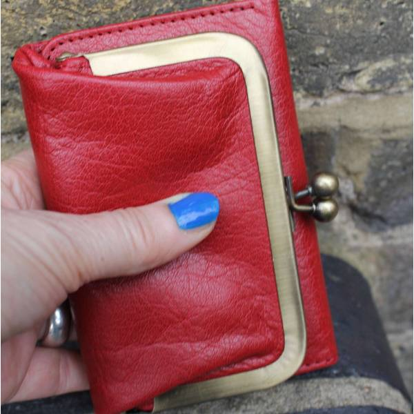 Clip Wallet Red Leather