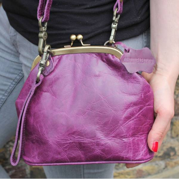 Evanna Clip Bag With Floor Purple Leather