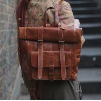 Tan Fold-over Leather Rucksack
