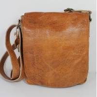 Flapover Man Bag Tan Scrunchy