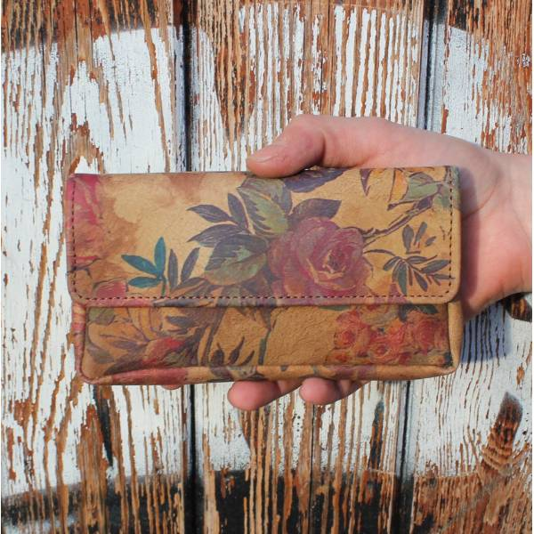 Pouch Wallet Floral 14 Leather