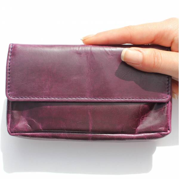 Pouch Wallet Purple Leather
