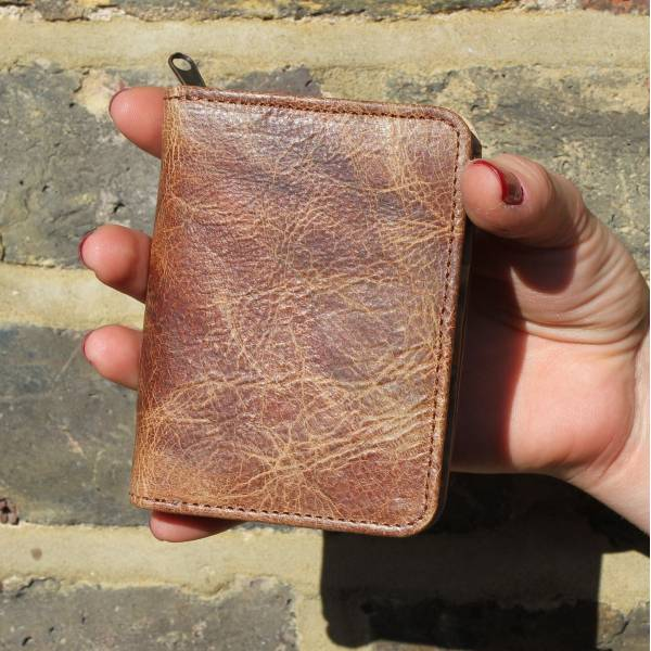 Distressed Tan Floral Leather Wallet