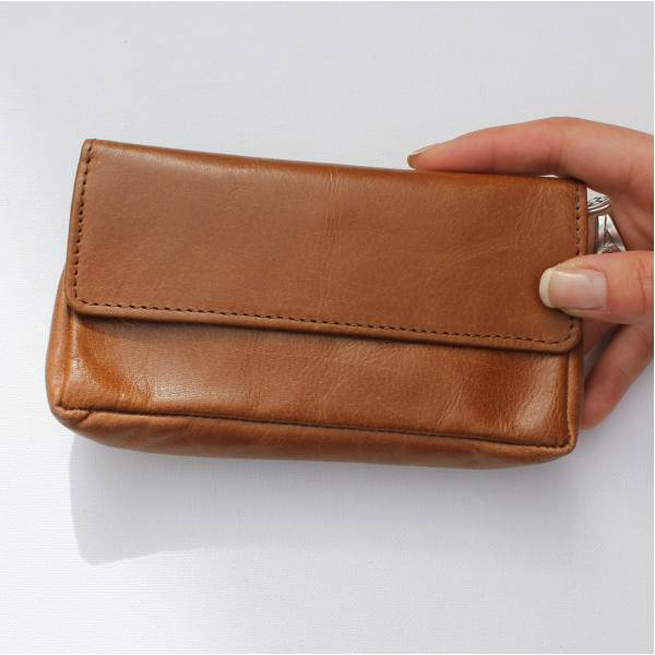 Francesca Pouch Wallet Vintage Tan Leather