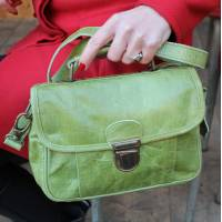 Funky Bag Apple Green Leather Mini Satchel